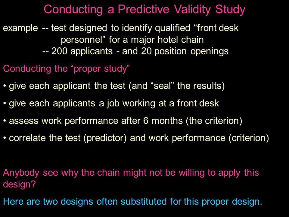 Conducting a Predictive Validity Study