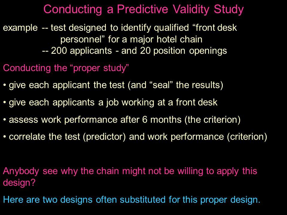 Conducting a Predictive Validity Study