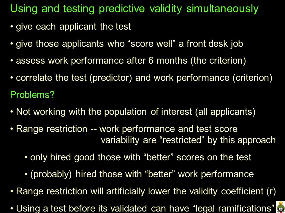 Using and testing predictive validity simultaneously