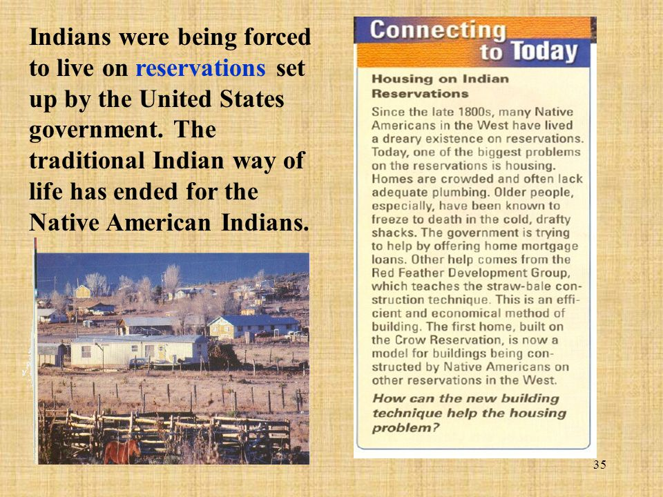 Indians were being forced to live on reservations set up by the United States government.