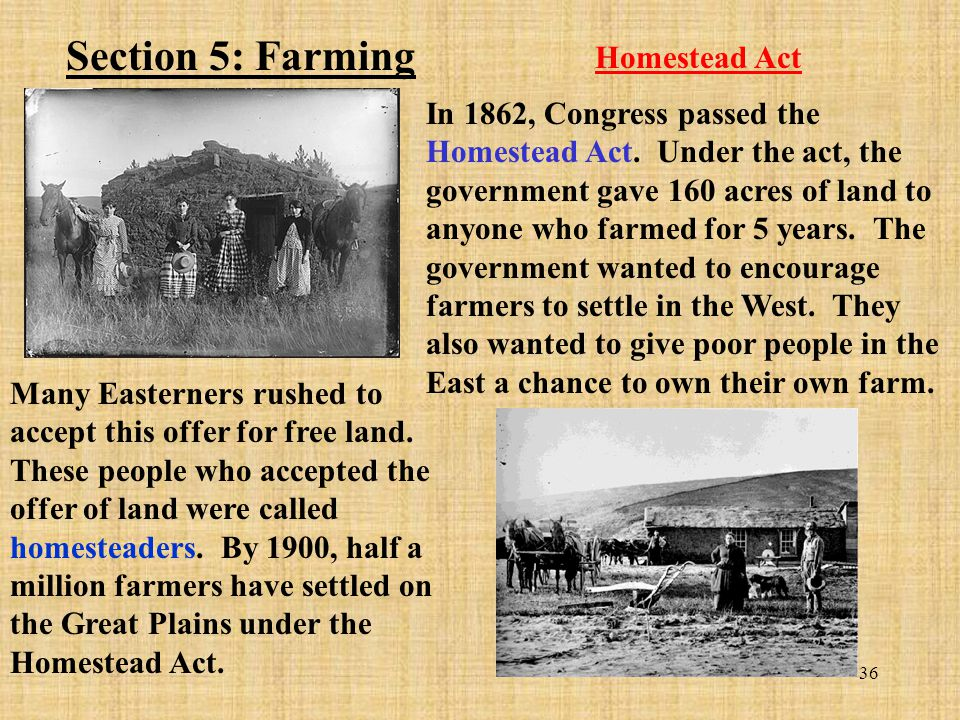 Section 5: Farming Homestead Act