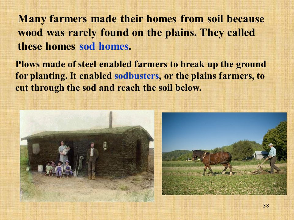 Many farmers made their homes from soil because wood was rarely found on the plains. They called these homes sod homes.