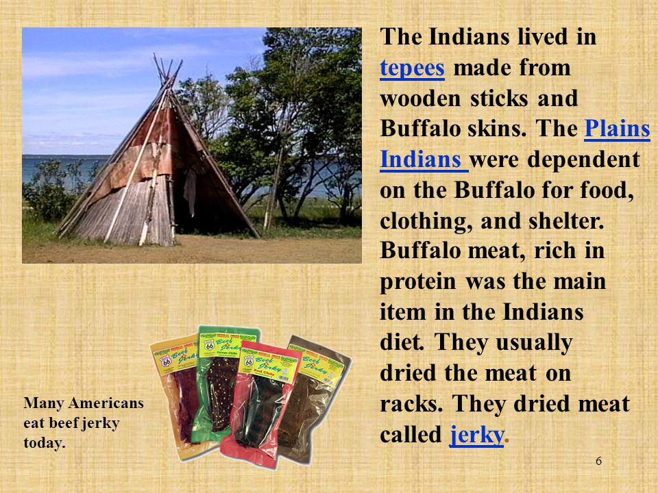 The Indians lived in tepees made from wooden sticks and Buffalo skins