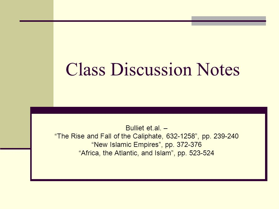 Class Discussion Notes