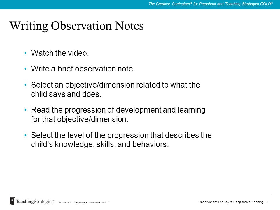 Writing Observation Notes