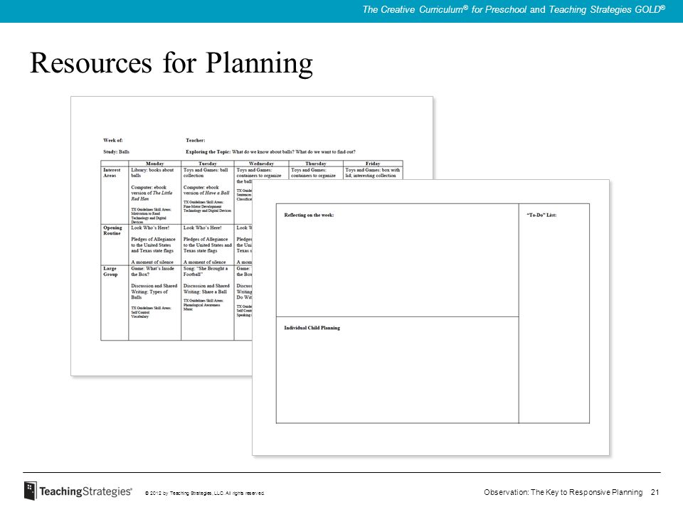 Resources for Planning