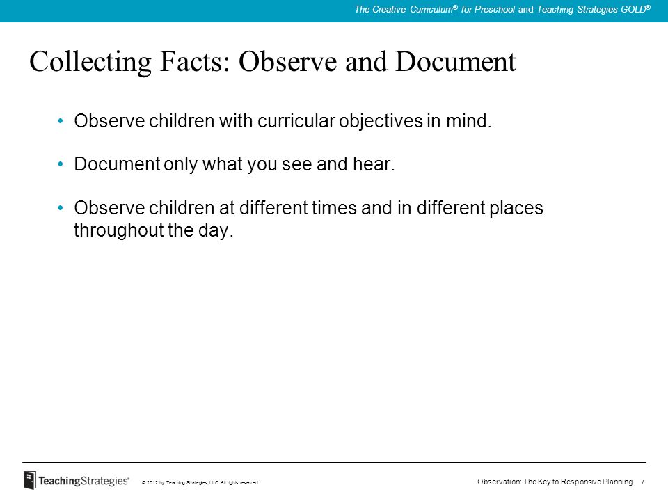 Collecting Facts: Observe and Document