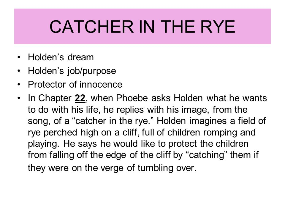 CATCHER IN THE RYE Holden's dream Holden's job/purpose