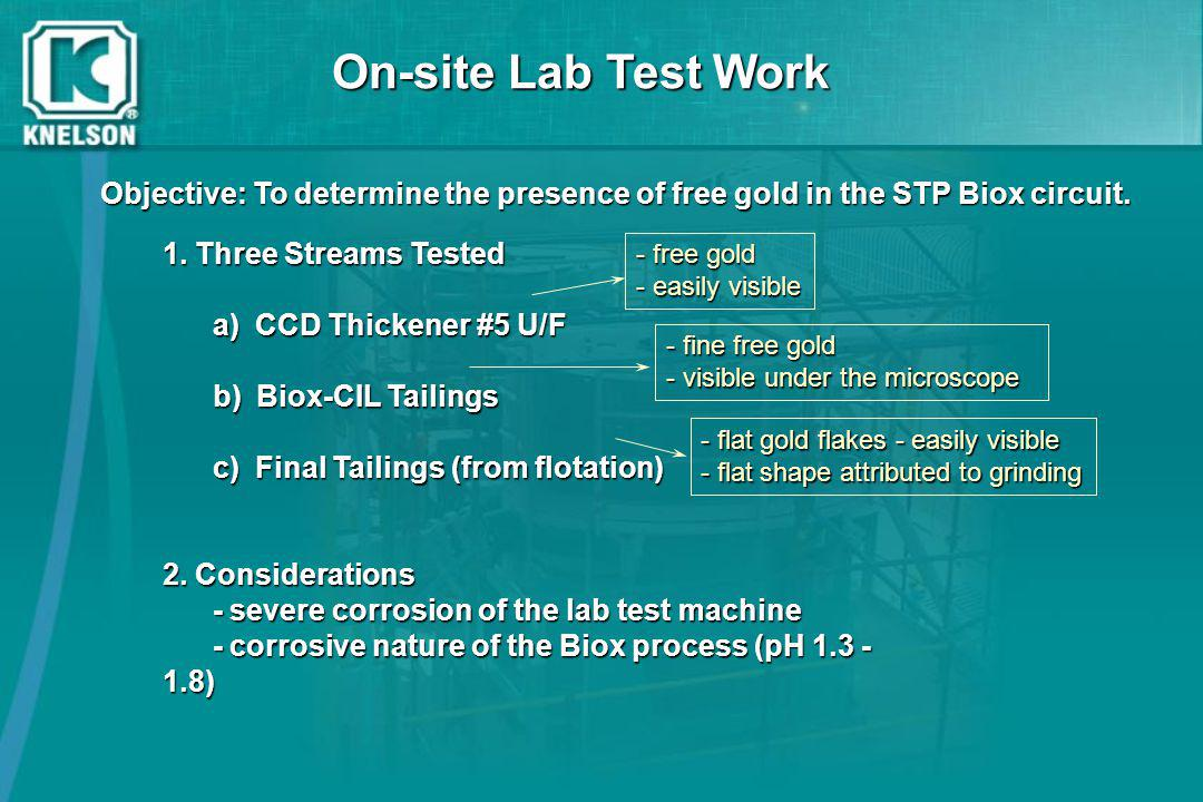 On-site Lab Test Work Objective: To determine the presence of free gold in the STP Biox circuit. - free gold.