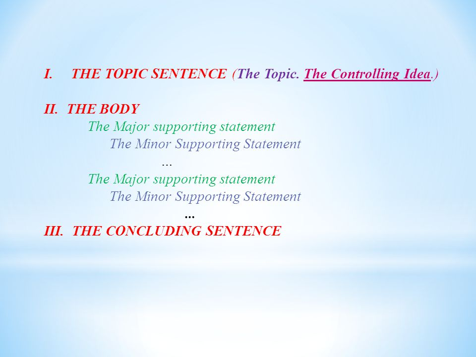 THE TOPIC SENTENCE (The Topic. The Controlling Idea.)
