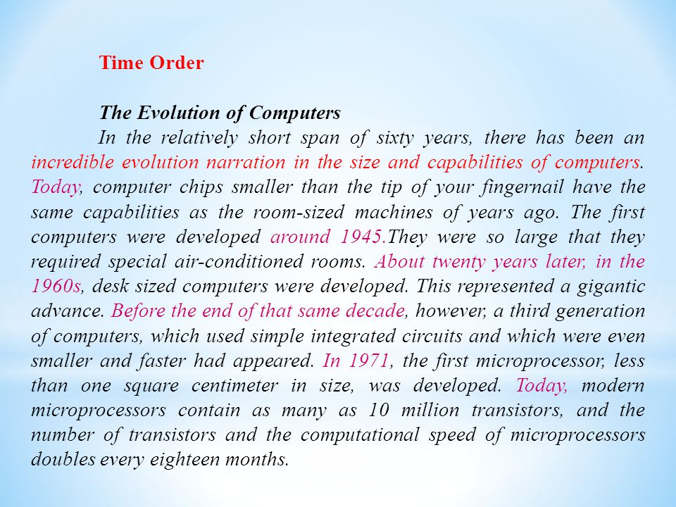 Time Order The Evolution of Computers.
