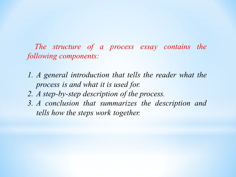 The structure of a process essay contains the following components: