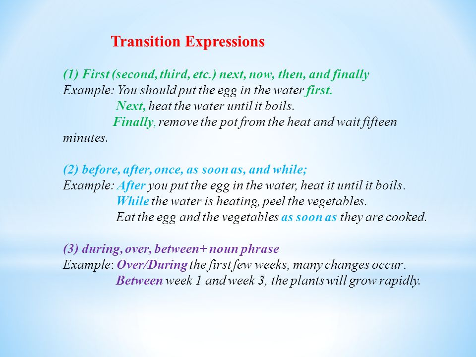 Transition Expressions