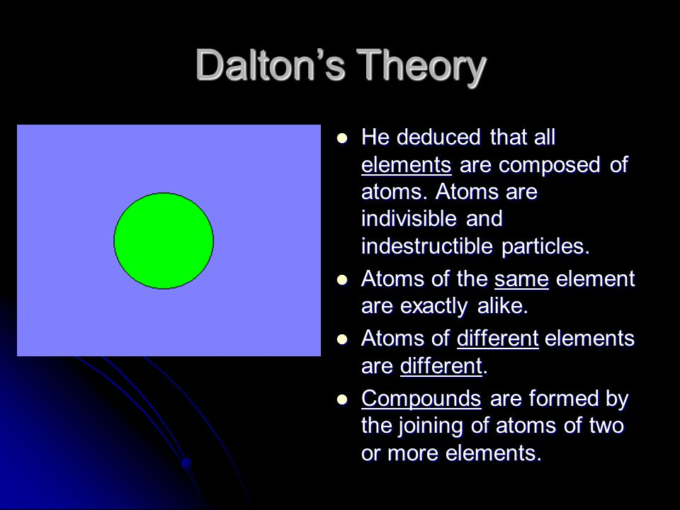 Dalton's Theory He deduced that all elements are composed of atoms. Atoms are indivisible and indestructible particles.