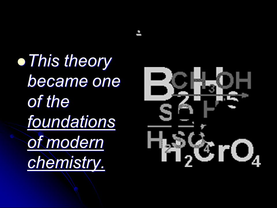 . This theory became one of the foundations of modern chemistry.