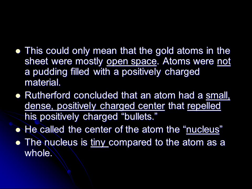 This could only mean that the gold atoms in the sheet were mostly open space. Atoms were not a pudding filled with a positively charged material.
