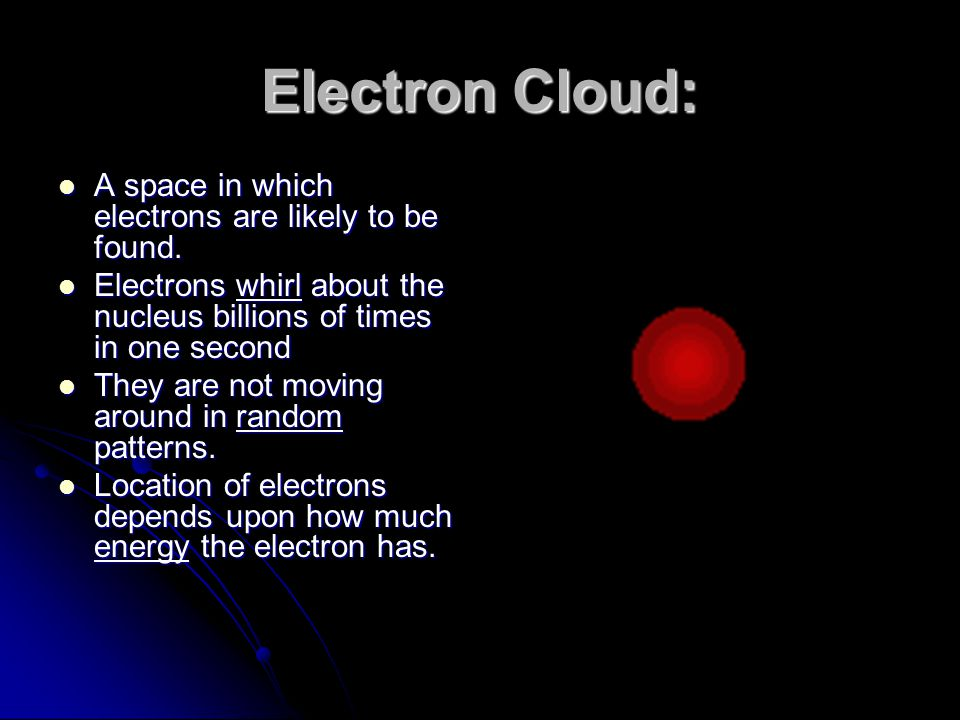 Electron Cloud: A space in which electrons are likely to be found.