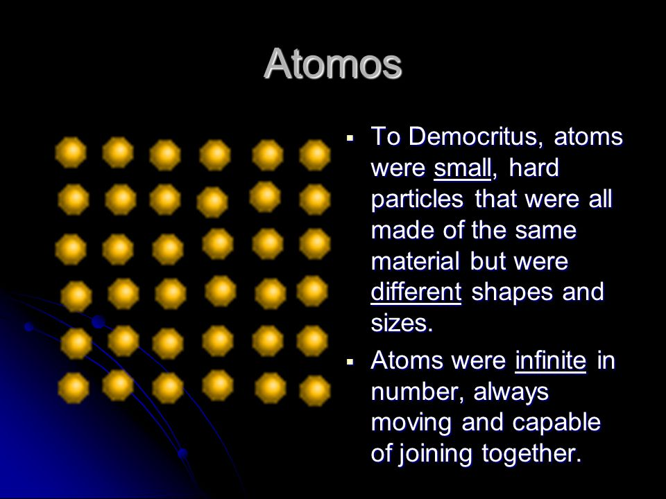 Atomos To Democritus, atoms were small, hard particles that were all made of the same material but were different shapes and sizes.