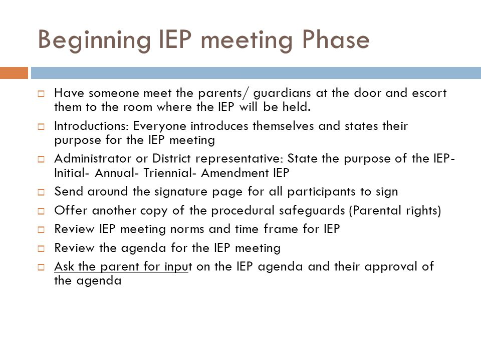 Beginning IEP meeting Phase