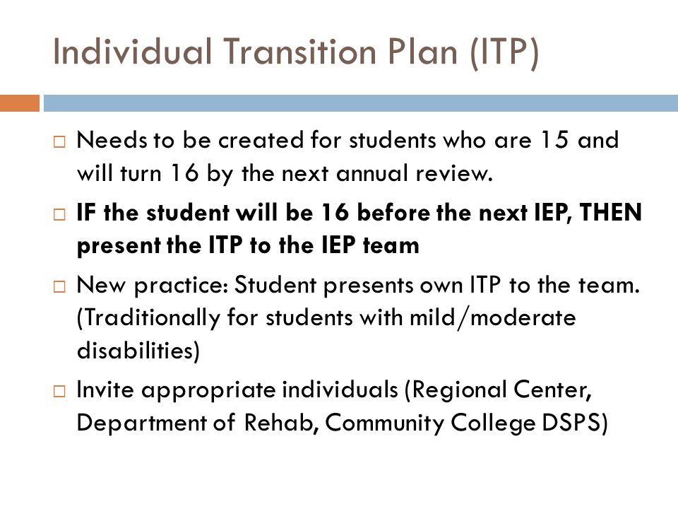 Individual Transition Plan (ITP)