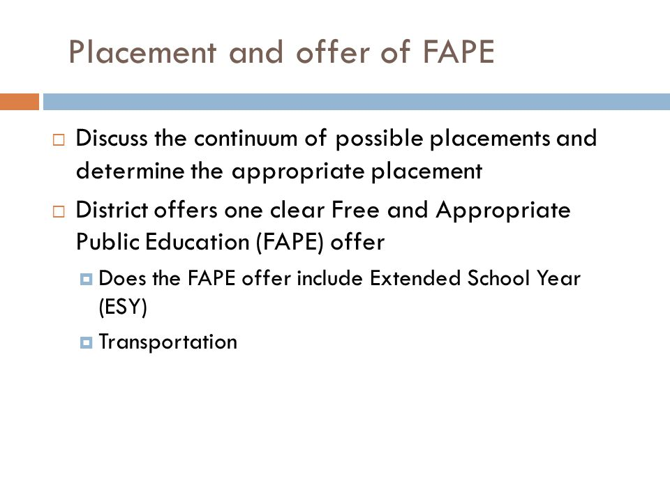 Placement and offer of FAPE