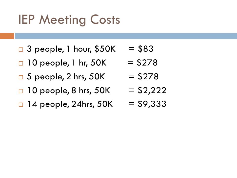 IEP Meeting Costs 3 people, 1 hour, $50K = $83