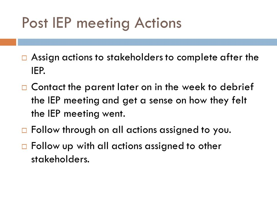 Post IEP meeting Actions