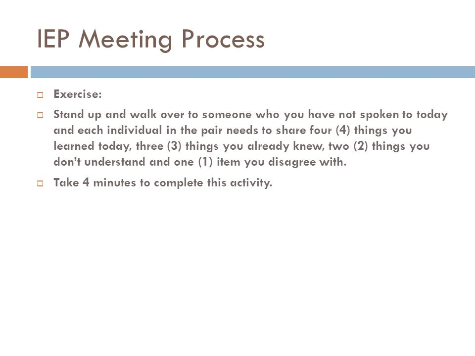 IEP Meeting Process Exercise: