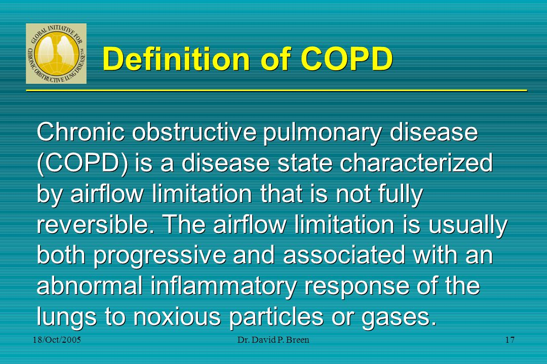 Definition of COPD Chronic obstructive pulmonary disease