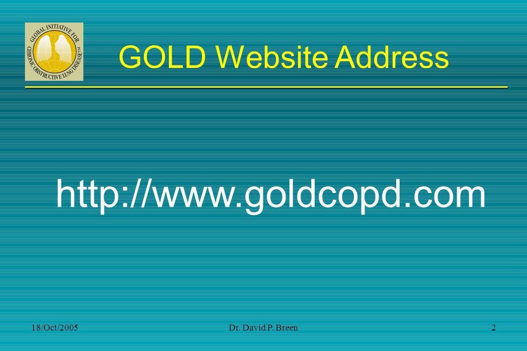 http://www.goldcopd.com GOLD Website Address 18/Oct/2005