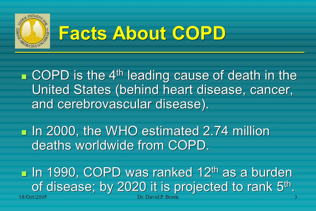 Facts About COPD COPD is the 4th leading cause of death in the United States (behind heart disease, cancer, and cerebrovascular disease).