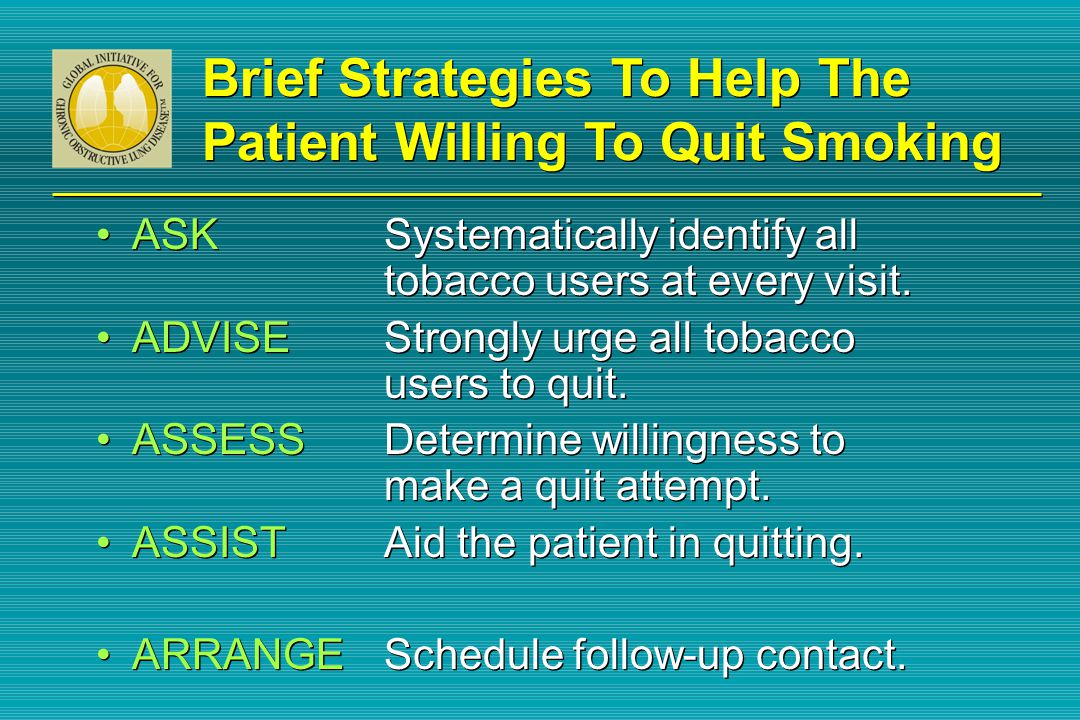 Brief Strategies To Help The Patient Willing To Quit Smoking