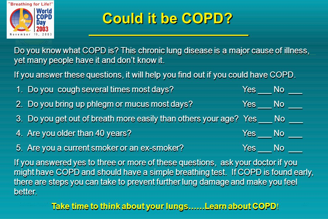 Take time to think about your lungs……Learn about COPD!