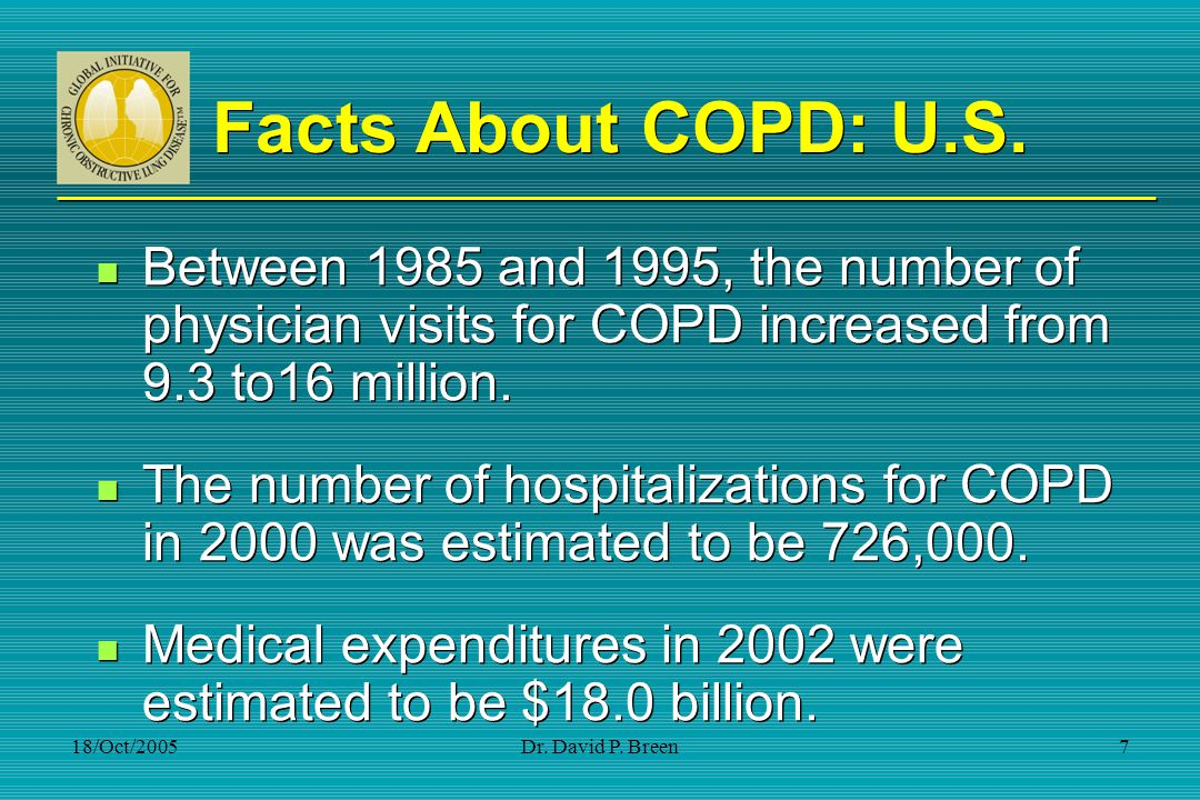 Facts About COPD: U.S. Between 1985 and 1995, the number of physician visits for COPD increased from 9.3 to16 million.