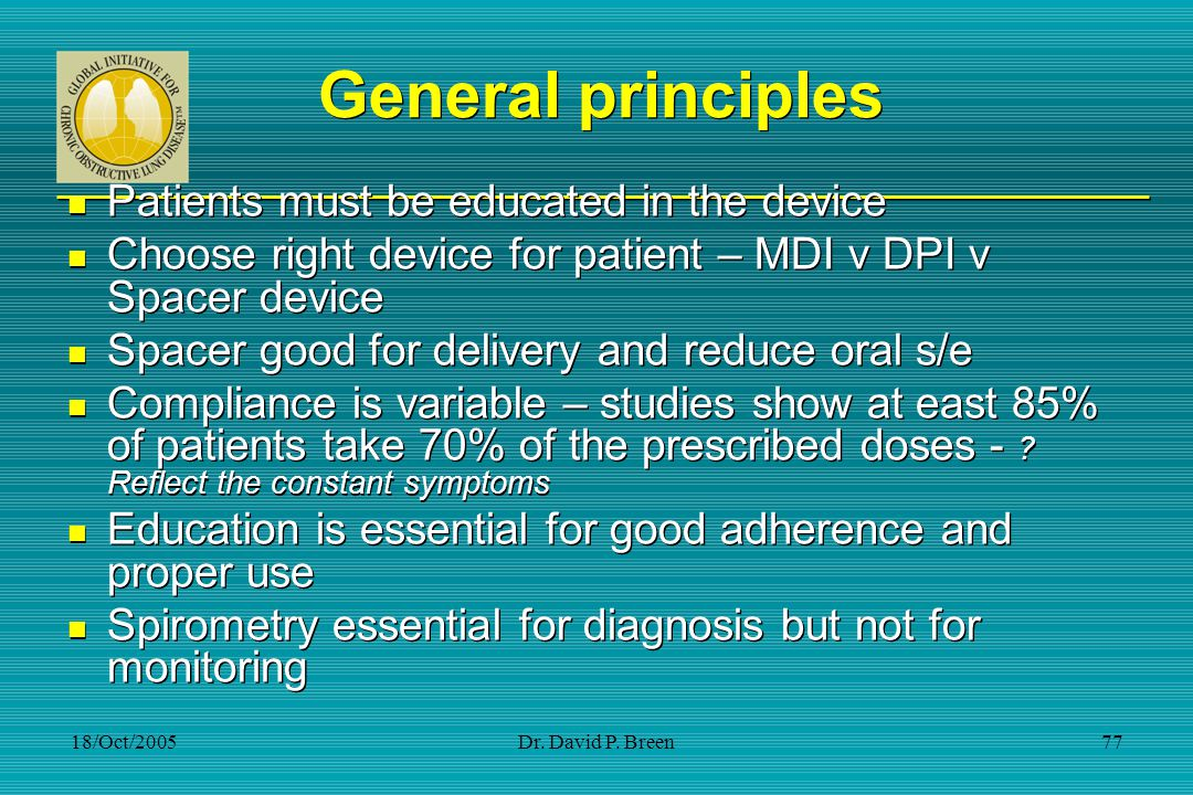 General principles Patients must be educated in the device