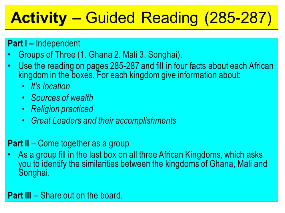 Activity – Guided Reading (285-287)