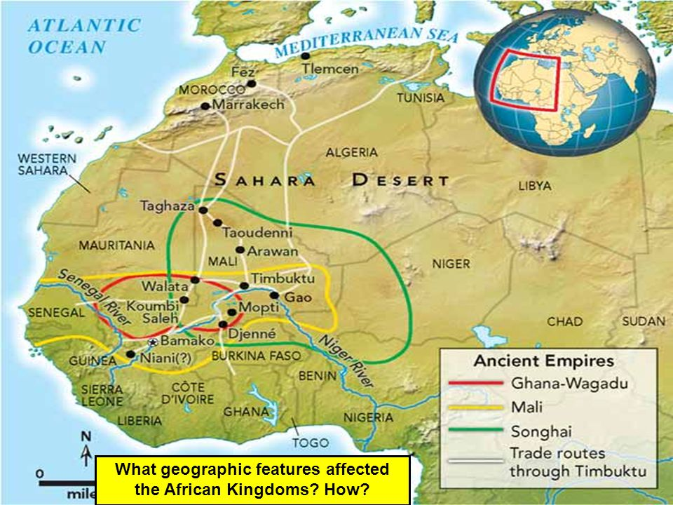 What geographic features affected the African Kingdoms How