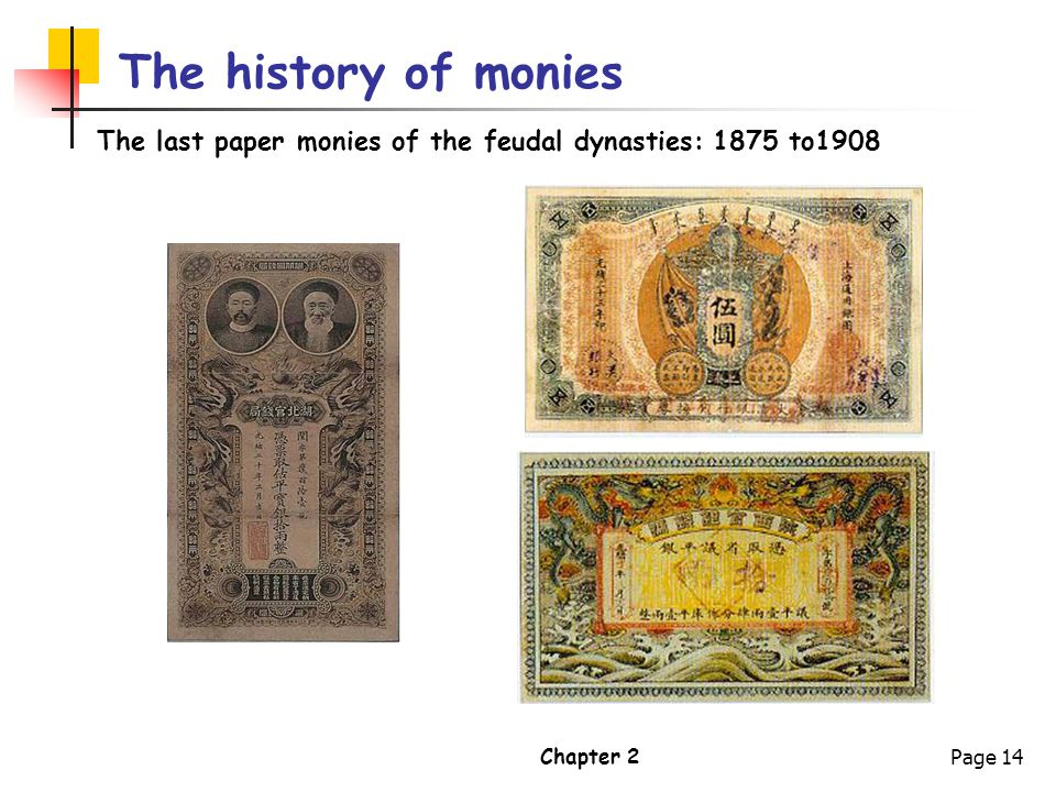 The history of monies The last paper monies of the feudal dynasties: 1875 to1908 Chapter 2