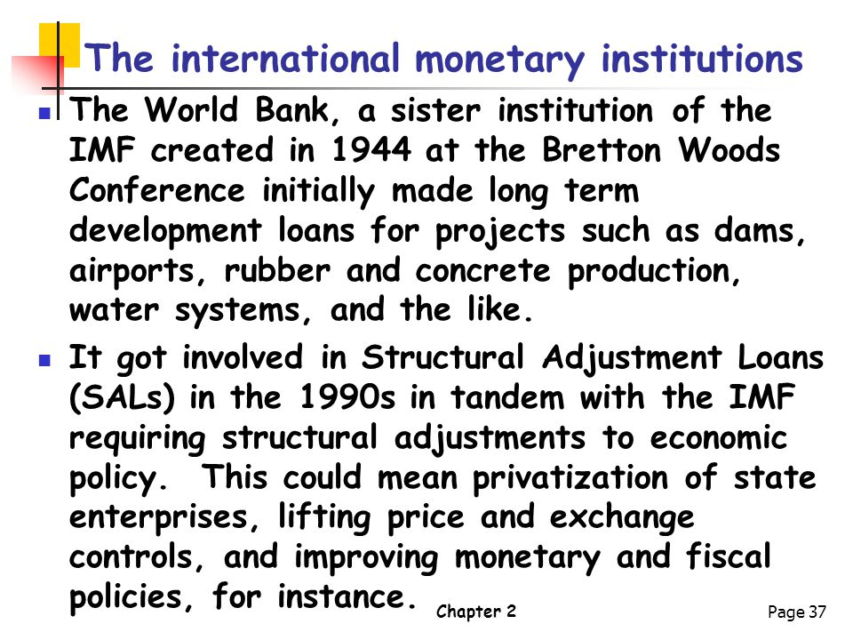 The international monetary institutions
