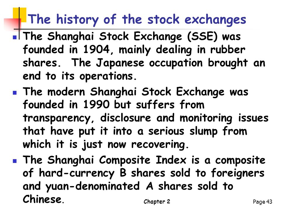 The history of the stock exchanges