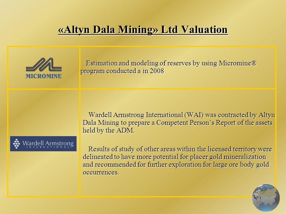 «Altyn Dala Mining» Ltd Valuation