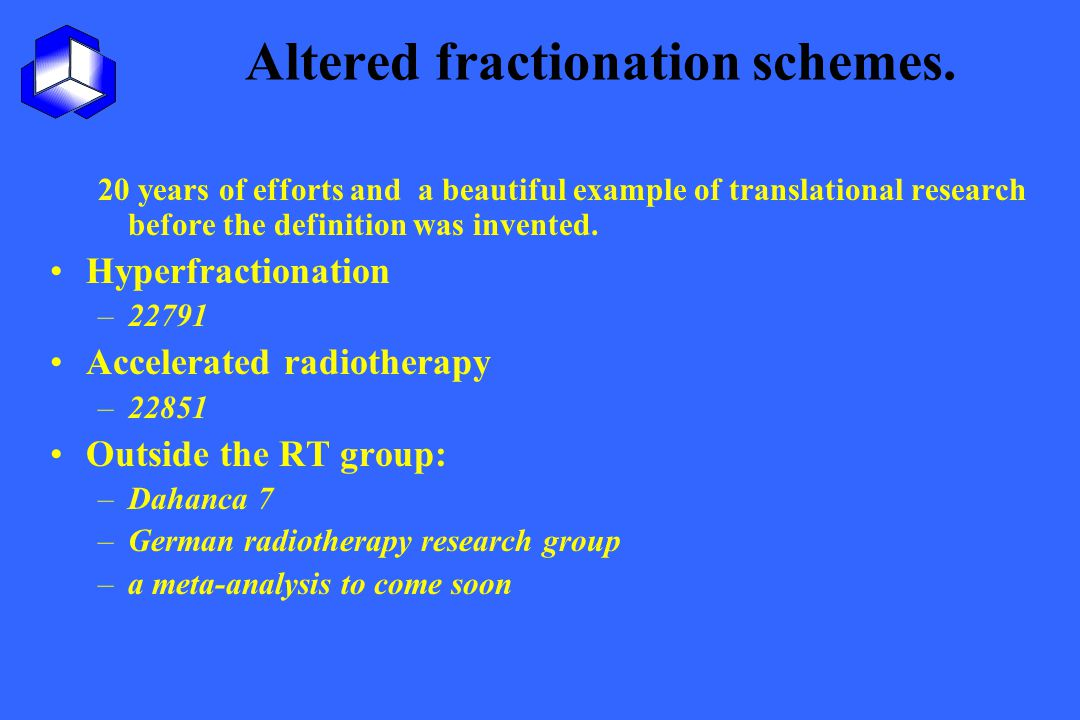 Altered fractionation schemes.