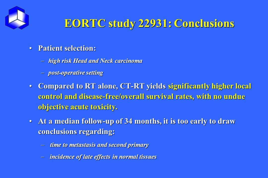 EORTC study 22931: Conclusions