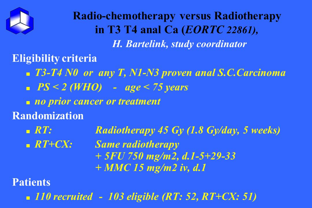 Radio-chemotherapy versus Radiotherapy in T3 T4 anal Ca (EORTC 22861), H. Bartelink, study coordinator