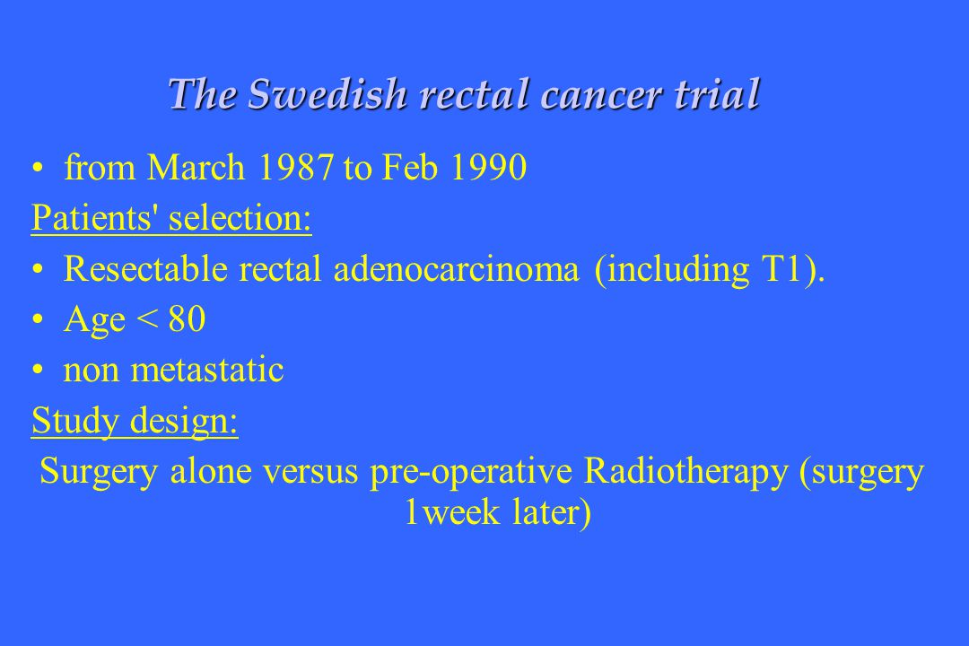 Surgery alone versus pre-operative Radiotherapy (surgery 1week later)