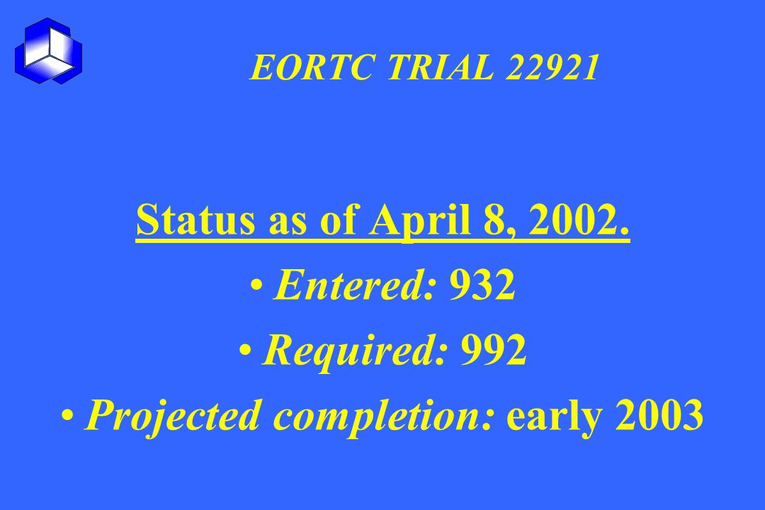 Projected completion: early 2003