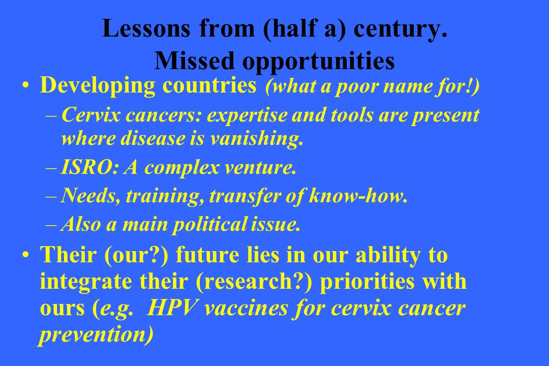Lessons from (half a) century. Missed opportunities
