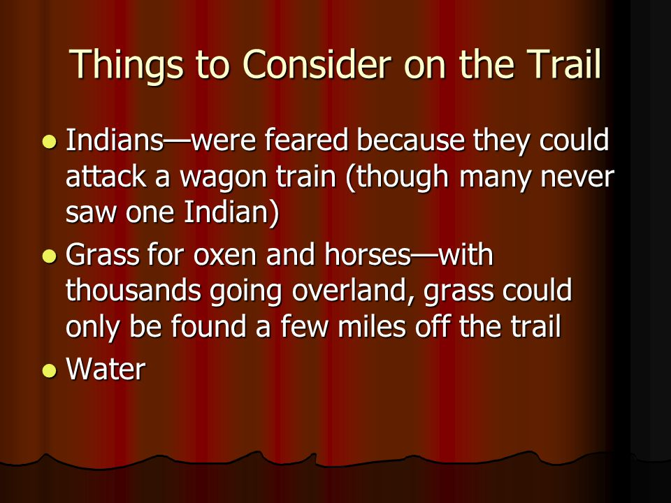 Things to Consider on the Trail