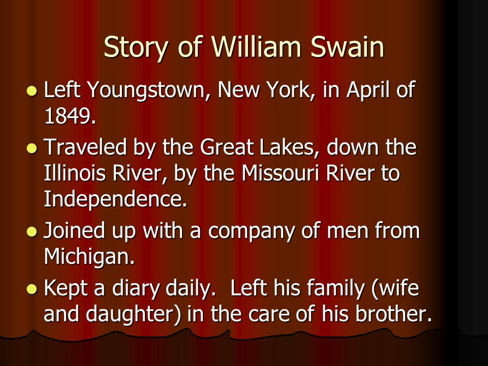 Story of William Swain Left Youngstown, New York, in April of 1849.