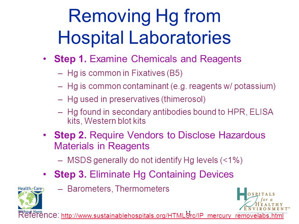 Removing Hg from Hospital Laboratories